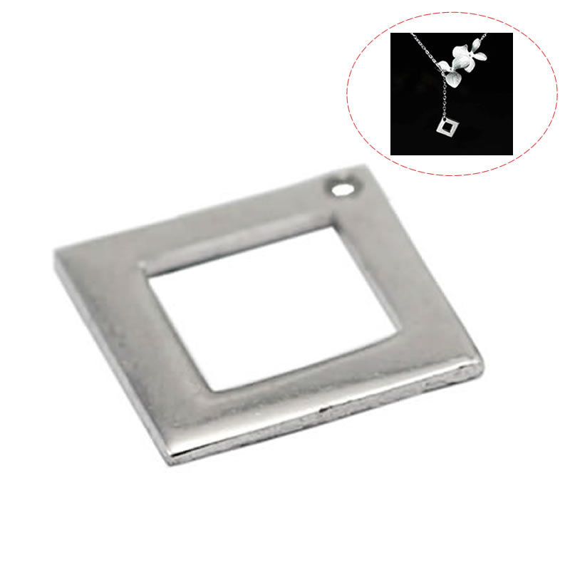 Beadsnice ID30576 925 solid silver blanks stamping square charm bracelet pendant accessories 10x10x1mm handmade finding