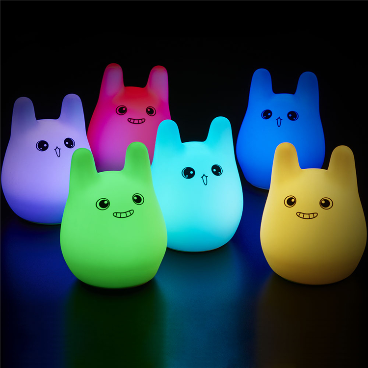 Colorful Rabbit Silicone LED Night Light Rechargeable Touch Sensor light 2 Modes Children Cute Night Lamp Bedroom Light