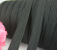 Wide 3/8 inch (10.0mm) Black Soft Knitted Braided Elastic
