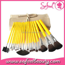 18pcs synthetic hair yellow assorted makeup brush set