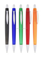 Cheap press plastic ballpoint pen with metal clip high quality and free LOGO print for Advertising promotional gifts
