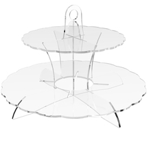 Clear Perspex 2 Tier Cup Cake Holder Stand Wedding Birthday Party Acrylic Cupcake Display Rack