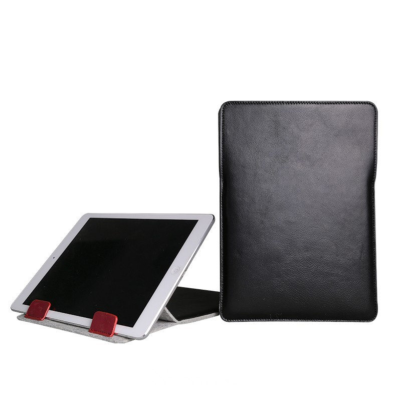 Soft Wool Felt & Genuine Leather Laptop Sleeve For Apple ipad air 2 Leather Laptop Bag for iPad