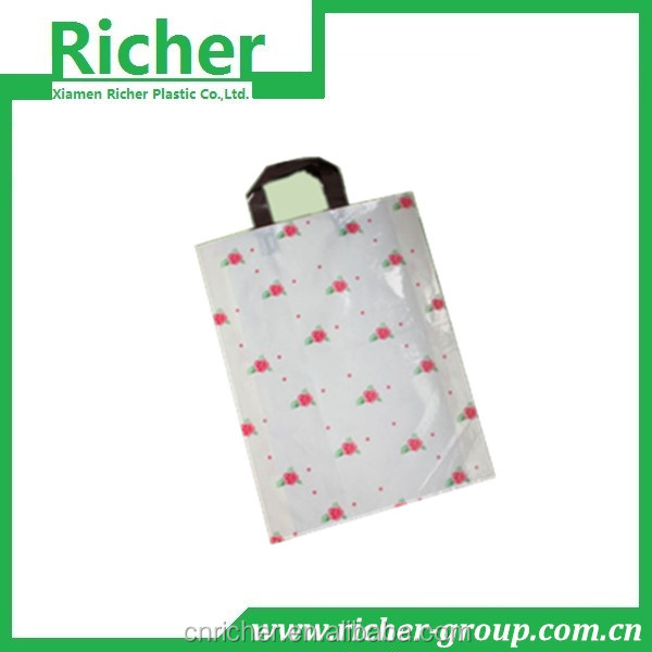 LDPE soft loop handle plastic bag for shopping/dresses