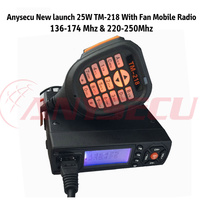 Anysecu New Launch 25W TM-218 With Fan Mobile Radio 136-174Mhz& 220-250Mhz Black