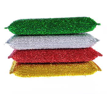 Metallic thread kitchen cleaning pad; Lurex thread sponge scourer