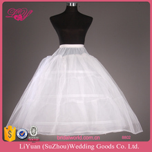 8802 White Bridal Petticoat with 3 Layers Hoops Adjustable Waistband Puffy Bridal Crinoline