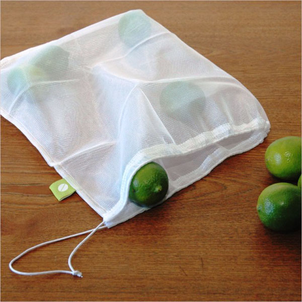 Eco friendly drawstring reusable vegetables and fruits mesh bag