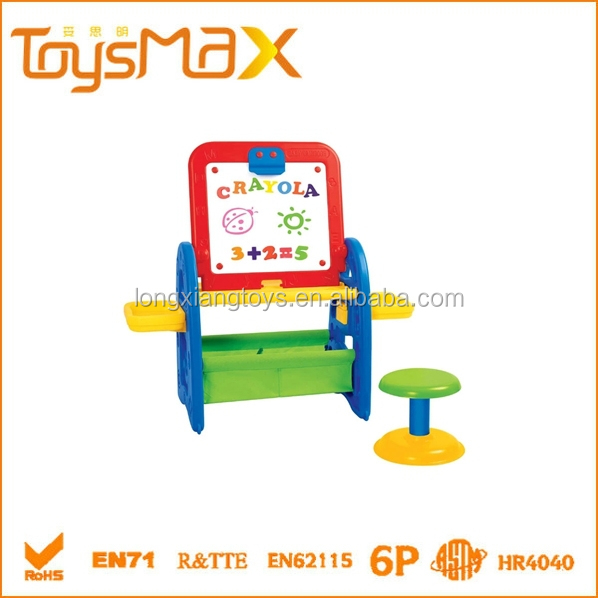 Educational Toys PE Multifunctional kids erasable magnetic drawing board with chair