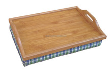 Bamboo Foam Bean Bag Cushion Dinner Lap Tray with Handle