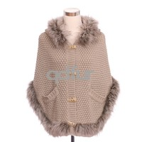 QD30544 Fashion Wool and Acrylic Knit Sweater Poncho Shawl with Raccoon Fur Collar Newest Fur Goods 2014