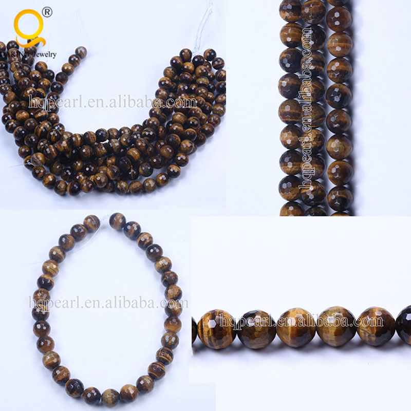 Wholesale 14mm faceted round brown tiger eye beads