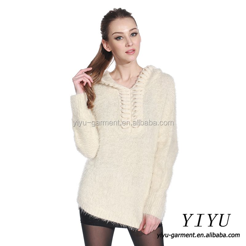 Fashionable women hoodie knitted pullover woolen sweater new designs for ladies