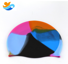 Promotional bright flower color silicone swimming cap