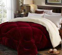 velvet dark color Sherpa fleece comforter quilt
