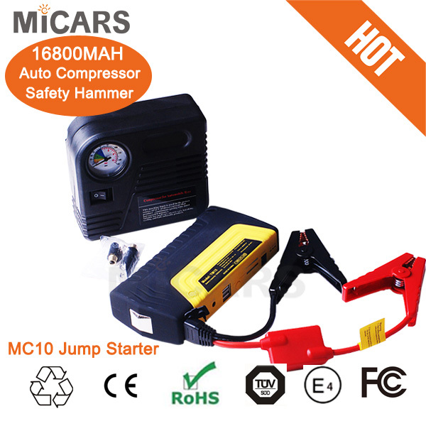 New style 3000 times cycle portable multi-function 12v jump starter electric power booster