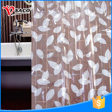Durable leaves pattern printed pvc window curtain for bathroom using