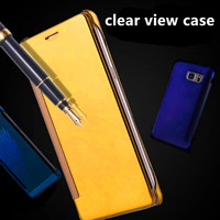 New Product Clear View Mirror Window Smart Flip Leather Case For One Plus 3