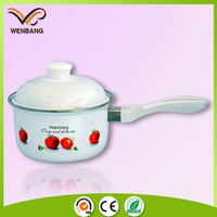 traditional kitchenware enamel cookware, single handle flower printing pot