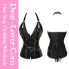 Wholesale fashion women sexy black 14 steel bone steampunk leather corset with thong