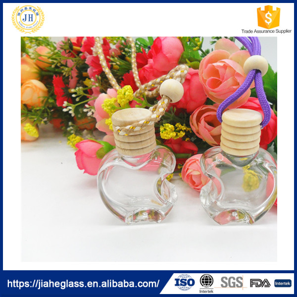 10ml apple shaped perfume bottle car ornaments hanging wooden cap glass car perfume bottle