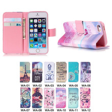 Colorful Bird Flower Elephant Beach Eiffel Tower Printed PU Leather Flip Phone Case for Apple iPhone 5S With Card Slots Wallet