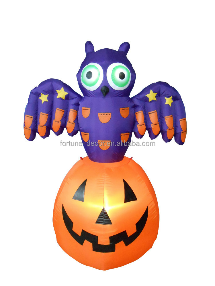 120cm/4ft halloween inflatable, electric LED light decoration pumpkin with owl on top,