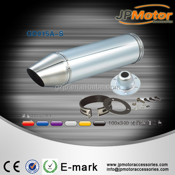 Aluminum alloy chrome / black exhaust pipe in Guangzhou for scooter modified motorcycle