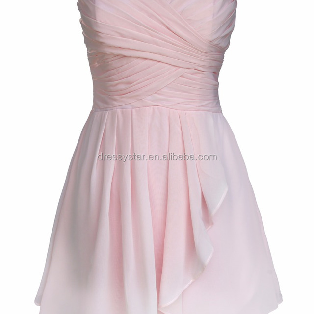 2017 Simple design sweetheart short empire light pink a-line chiffon ruched bridesmaid dresses