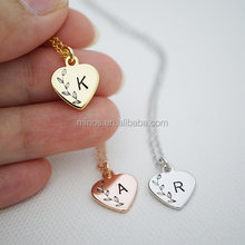 Initial Necklace Bridesmaid Gift Heart Personalized Necklace