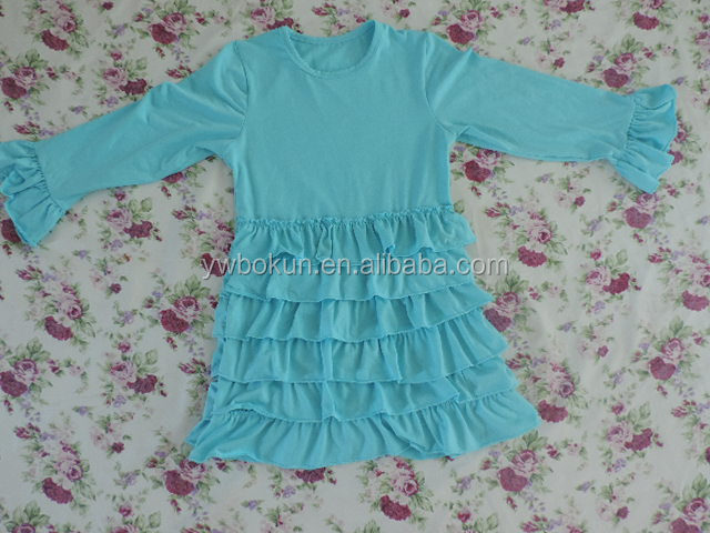 aqua pettidress puffy sleeves dress multi layered tiered ruffles long sleeves dress