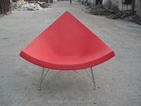 Coconut chair in fiberglass and stainless steel shape triangle coconut chair