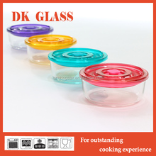 Rainbow Color Plastic Lids 5 Pcs Glass Salad Bowl Set For Fruit And Vegetables