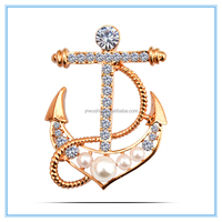 Fashion Hottest Sale Brooch Jewelries Wholesale Set Crystal Anchor Brooch