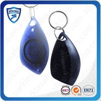 nfc 13.56mhz round plastic rfid key tags with metal ring