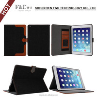 High quality hand strap design tablet leather case for ipad air 2,credit card cover for ipad air 2