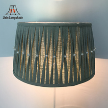 New -design lampshade lining white fabric pale green fold stripe lamp shade