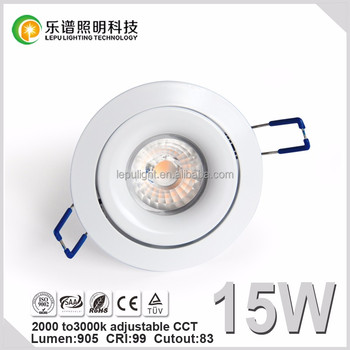 TUV SAA 83mm Cutout recessed ip44 led downlight CCT Adjustable 2000-2800k 9w 13w 15w