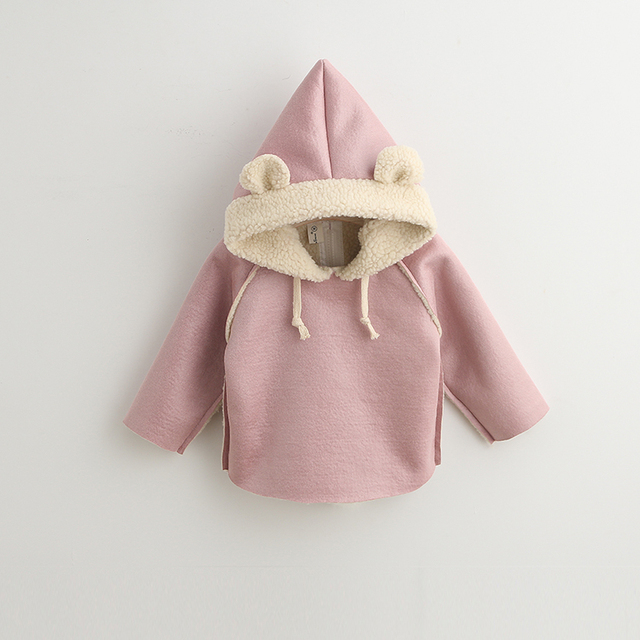 Manufactures thicken faux suede pullover kid clothing sweatshirt with bear ears fur hood
