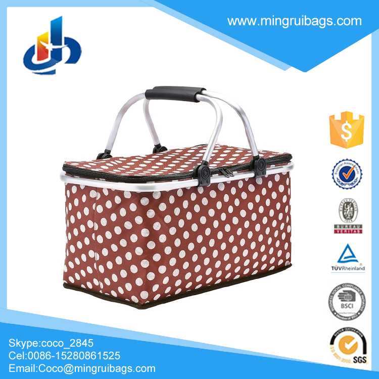 Picnic Basket,Insulated Folding Collapsible Market Picnic Basket Zip Closure Basket with Carrying Handles for Outdoor Picnic