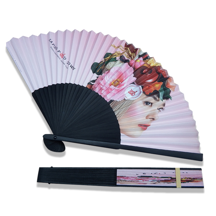 Free shipping black <strong>bamboo</strong> hand Japanese paper folding fan