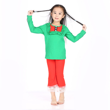 Latest winter long sleeve t-shirt and lace ruffle pants Christmas set baby girl clothes