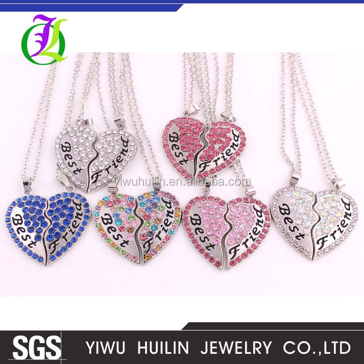 IMG 7281 Yiwu Huilin Jewelry Best Friends necklace charming heart crystal pendant forever alloy