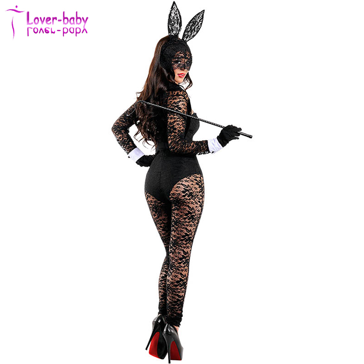 Sweetheart Neckline Lace Sheer Sexy Playsuit Romper Style Adult Girls Bunny Costume Set