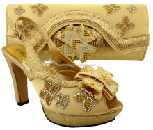 New arrival african top quality gold shoes and bag with glitter matching shoes and bags MM1031