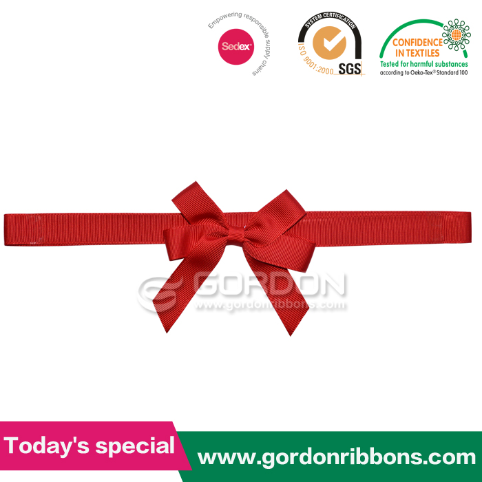 red mini ribbon bow with elastic loop