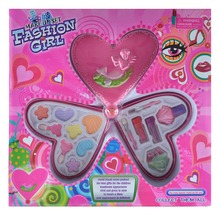 Pretty girls Heart shape cosmetic toys DIY kids play makeup set