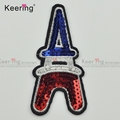 Fashion Best selling tower OEM design sequin embroidery patch for garment WEFB-054