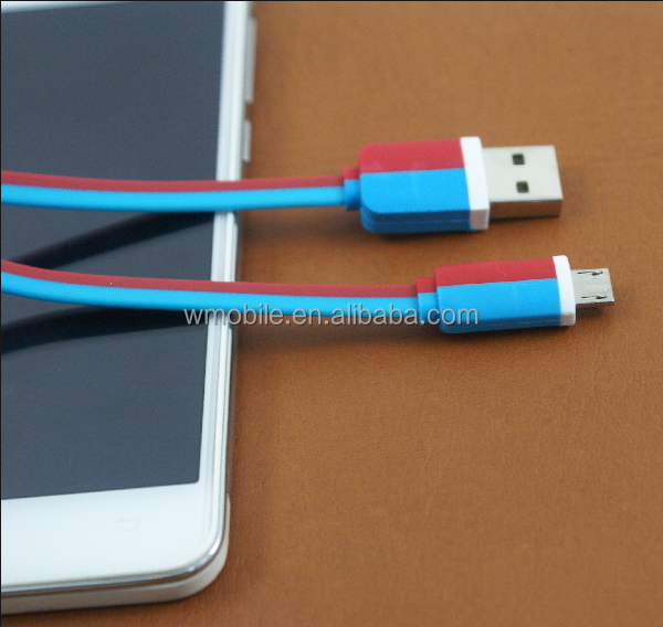 Flat TPE micro usb 4 core cables cables eletricos for v8 mobile phone
