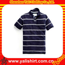 Custom latest style breathable short sleeve stripe cotton cheap golf polo shirt stage clothing for men